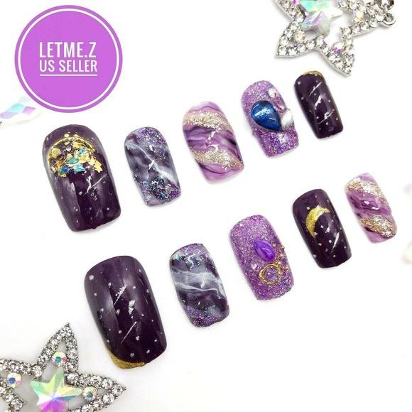 Press on Nails Glue On Galaxy Stars Purple Marble